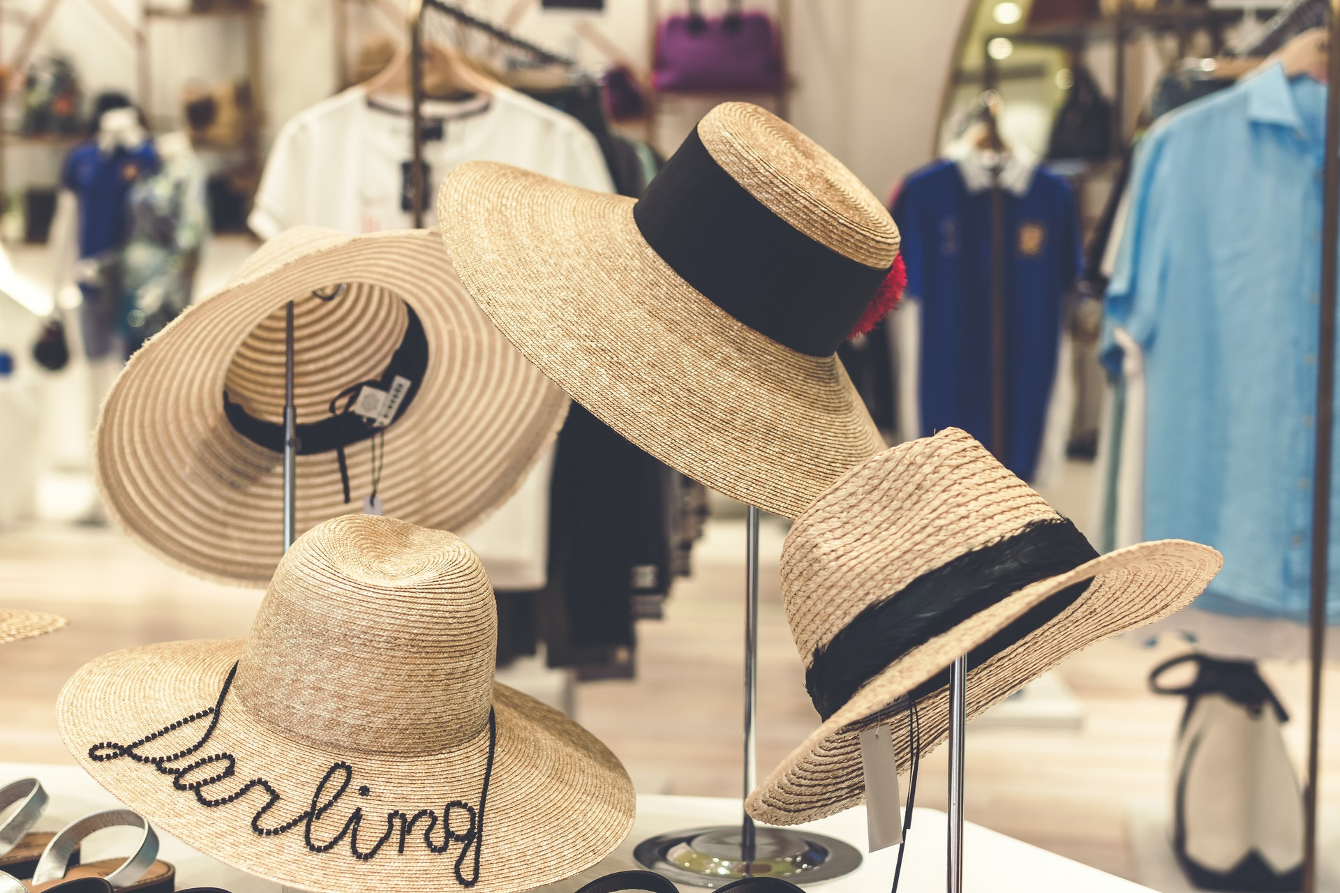 4 hats standing in retail store for apparel clothing hats counterpoint sql