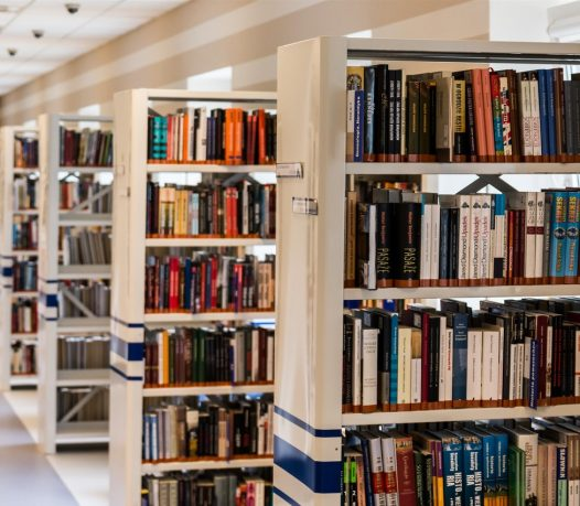 row of books in shelves in student center lib store